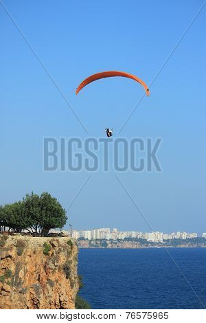 parachutist against the background of downtown, Antalya