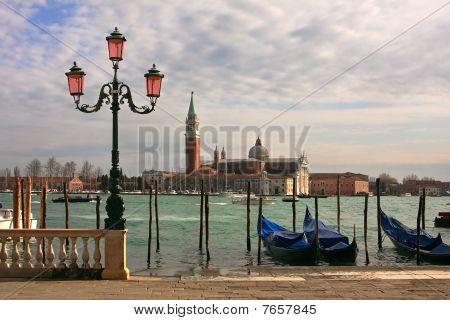 View On Grand Canal And San Giorgio Maggiore Church In Venice, Italy.