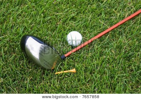 Objects Of Golf On The Grass