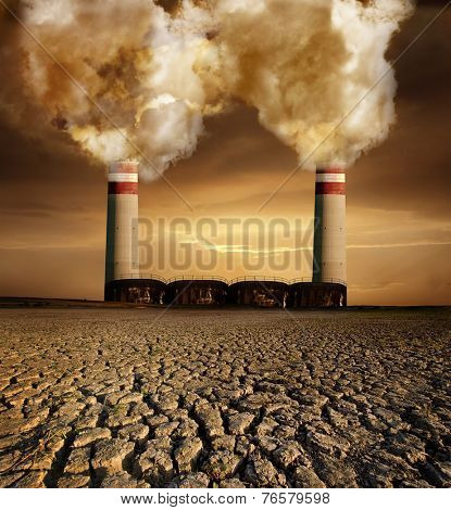 Global pollution caused by industry and resulting destruction