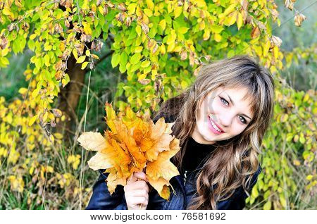 Sweet Girl In Fall Forest