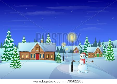 christmas eve holiday house winter snow, snowman