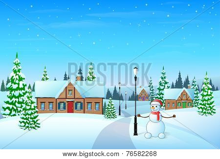 christmas holiday village house winter snow, snowman
