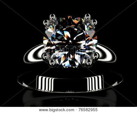 Ring with diamond isolated on black background