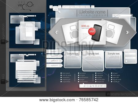Website Design Template Menu Elements