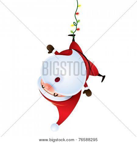 Santa Claus hanging upside down