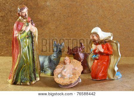 Nativity Scene With Jesus Mother Mary And Joseph