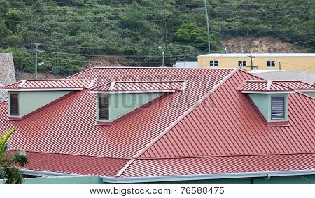 Red Metal Roof On Caribbean Building