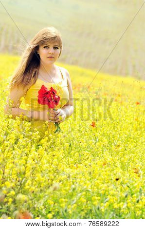Girl With Bouquet Of Poppies