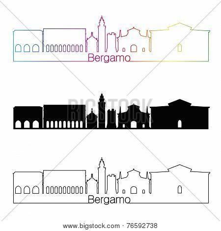 Bergamo Skyline Linear Style With Rainbow