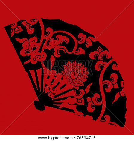Red and black Chinese lotus fan