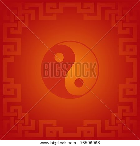 Red Chinese Yin Yang Background