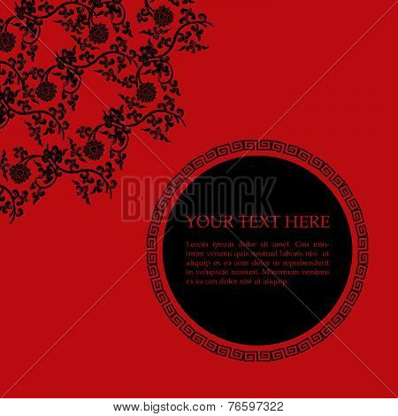 Red and black Chinese floral card