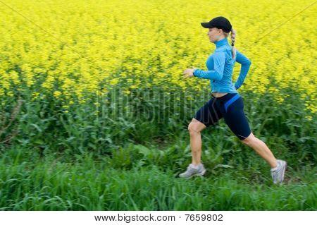 Woman Running Outdoors, Motion Blur