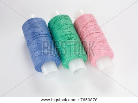 Colorful cotton threads in coils