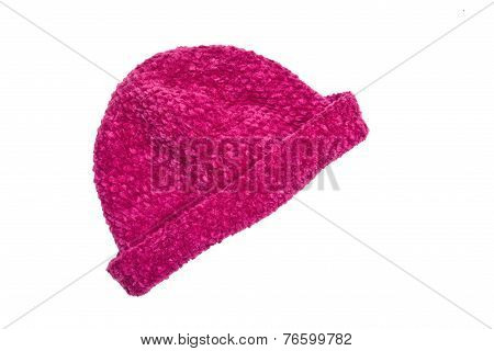 purple woolen knit hat