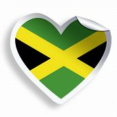foto of jamaican flag  - Heart sticker with flag of Jamaica isolated on white - JPG