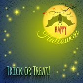 foto of vampire bat  - Grungy Halloween background with bat vampire hanging on a branch on a background of a large yellow glowing moon and stars - JPG