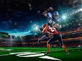 foto of football  - American football player in action in the stadium - JPG