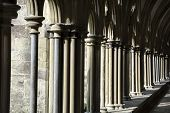 pic of quadrangles  - Sunlight catching the side of quadrangle walkway at Salisbury cathedral - JPG