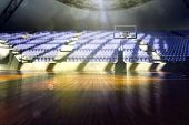 stock photo of arena  - 3d basketball city arena render in lights - JPG