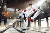 stock photo of karate  - Karate fighting woman in the white kimonos - JPG