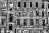 picture of abandoned house  - Old ruined and abandoned city house  - JPG