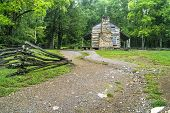 picture of cade  - The John Oliver Cabin on the Cades Cove loop is a historical public display located in the Great Smoky Mountains National Park - JPG