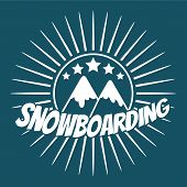 Постер, плакат: Flat snowboarding with mountains