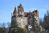 stock photo of dracula  - Bran Castle - Dracula`s Castle, known for the myth of Dracula ** Note: Soft Focus at 100%, best at smaller sizes - JPG