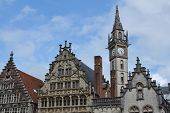pic of old post office  - Historic buildings with the Old Post office tower in Ghent Belgium - JPG