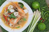 picture of thai cuisine  - Tom yam is a spicy soup typical in Thailand and No - JPG