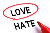picture of hate  - Choosing Love instead of Hate with red marker - JPG