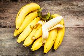 picture of bunch bananas  - bunch of bananas on old wood vintage style - JPG