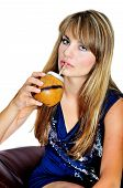 pic of calabash  - girl drinking mate she using calabash and bombilla - JPG
