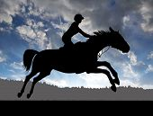 image of horse-riders  - silhouette of a rider on a running horse at sunset  - JPG