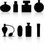 image of perfume bottles  - perfume bottle black silhouette vector illustration on white - JPG