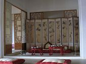 image of futon  - Inside of a Korean palace and it - JPG