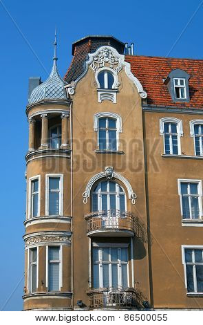 Turret and facade Art Nouveau building