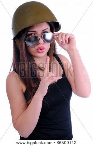 girl looking from glasses index finger near the mouth