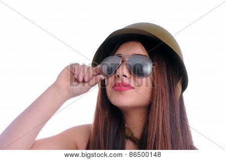 Girl with glasses and helmet looked up
