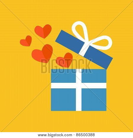 Open Gift Box With Fly Hearts. Flat Design.