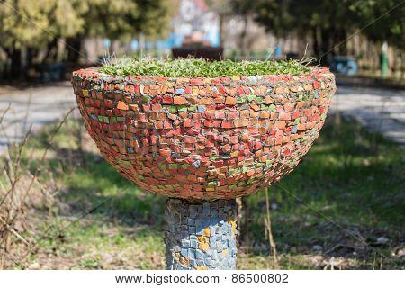Outdoor Flowerbed On Pedestal