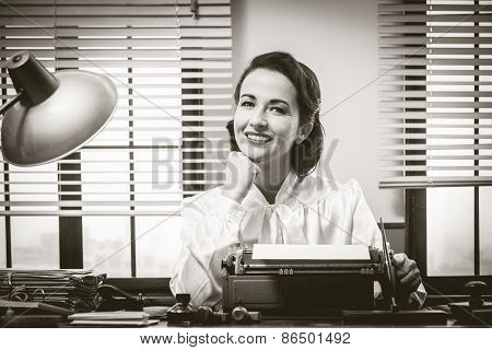 Smiling Secretary At Work