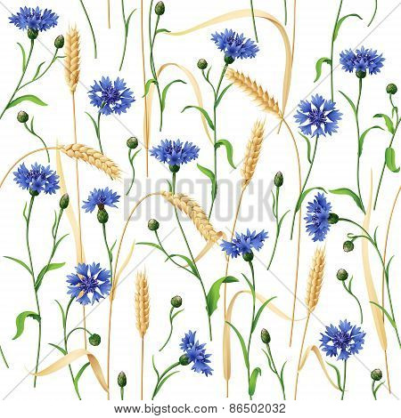 Cornflowers And Wheat Ears Pattern