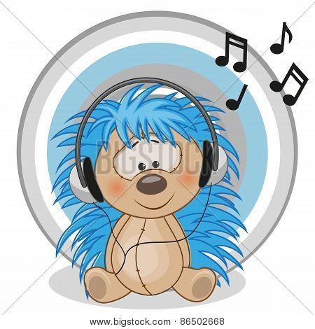 Hedgehog With Headphones