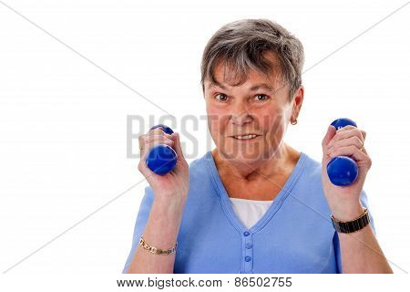 Elderly Woman Exercising With Dumbbells