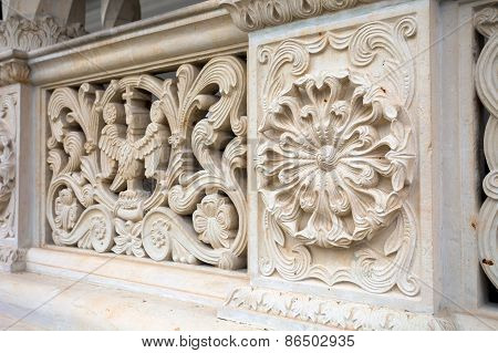 Architectural Railing Detail From Sambata De Sus Monastery In Transylvania