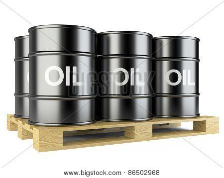 Black Oil Barrels On Wooden Pallet