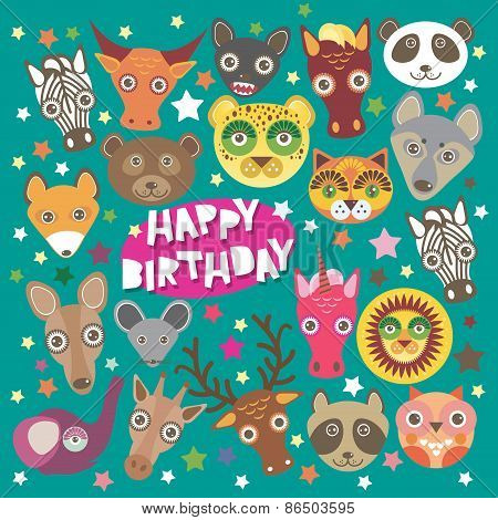 Happy birthday card funny animals muzzle, Teal background with stars. Vector